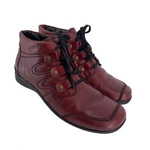 Ara Burgundy Wine Leather Lace Up Boots